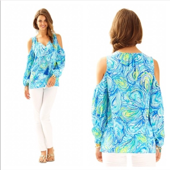 16abb748e67ff Lilly Pulitzer Tops - Lilly Pulitzer Finch Cold Shoulder Silk Blouse Top
